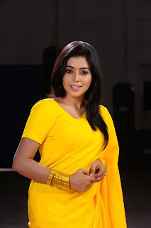Poorna New Pictures in Yellow saree 018.jpg