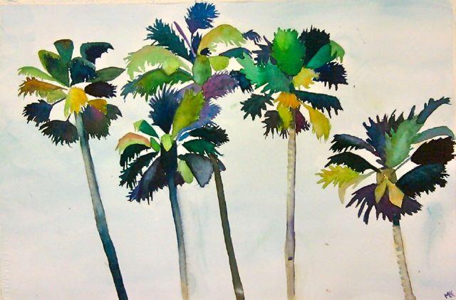 palm tree watercolor - photo #29