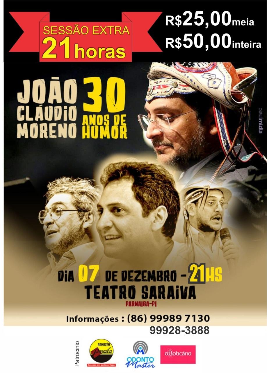 Teatro Saraiva abre sessão extra para o Show de 30 Anos da Carreira de João Cláudio Moreno