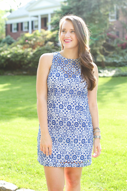 blue lace shift dress