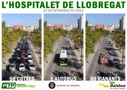 60 voluntaris fan una espectacular demostració de capacitat del transport públic a l'Hospitalet
