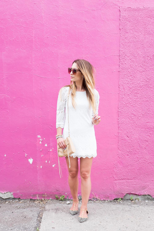little white lace dress, halogen olson pointy toe leopard flats
