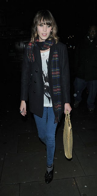 alexa chung wearing a chess scarf