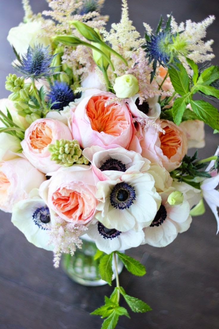 Beautiful bridal 10 romantic anemone bouquets - Garden rose bouquet ...