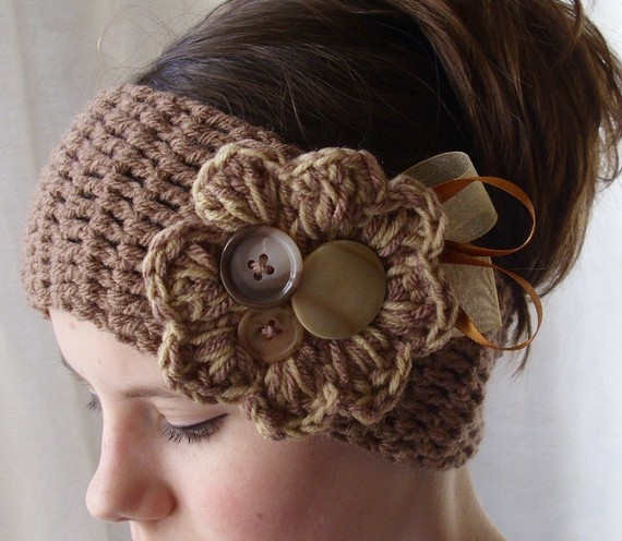 Free Crochet Pattern Headband Ear Warmer Button : The Crafty Novice: Simple Crochet Ear Warmer