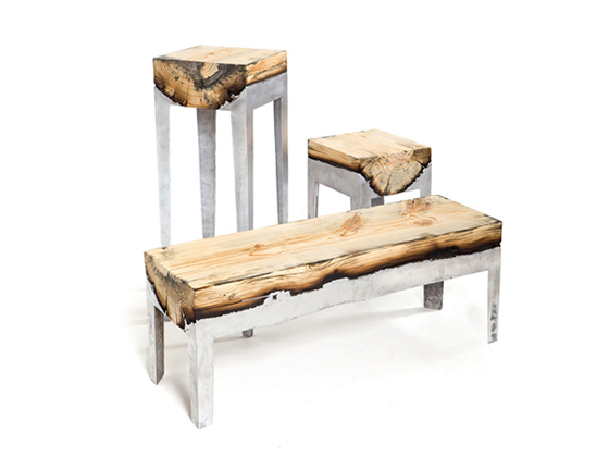 Designers block wood and metal fused Wood and steel furniture
