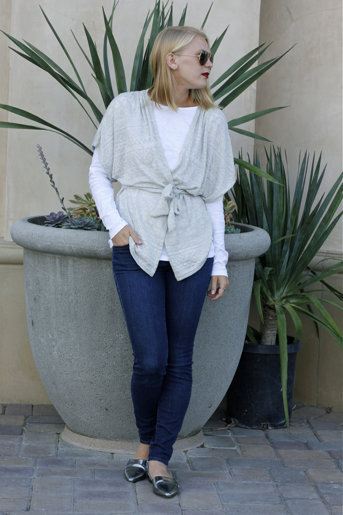 Weekend Wrap, Huntington Beach, fashion blog, cardigan, denim, metallic flats