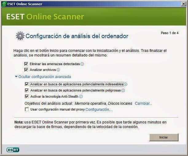 Configuración ESET Online Escáner