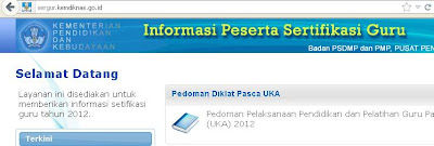 Pengumuman Hasil UKG Online 2012 - Kementerian Pendidikan dan