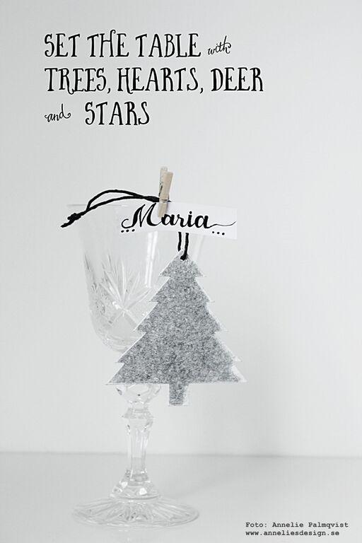 tips till juldukningen, juldukning, jul, julen, julens, julen 2015, julpynt, dukning, dukningar, gran, granar, Oohh, kristallglas, glas, träklämma, klämma, namnplacering, bordsplacering, tips, diy,