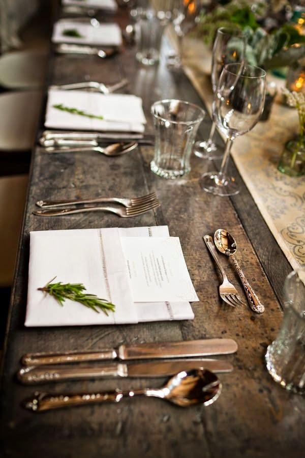 Decoración de mesa rústica