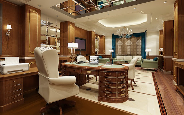 Luxury Executive Office Classic Design Idea Socializing: Face to Face or Online?