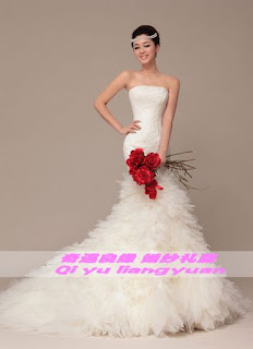 Vestido de novia de encaje, corte sirena, strapless, sin mangas y con cola con piezas de tul