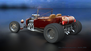 Hot Rod rear view left rendered with iray