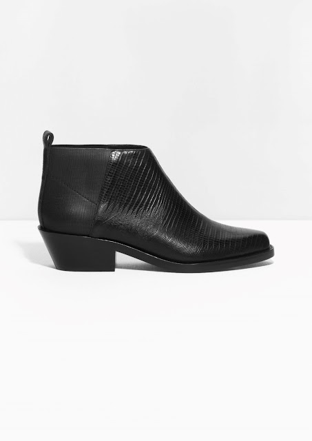 stories black ankle boot, low black ankle boot, two tone ankle boot,