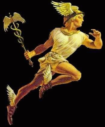 Mercurio, el dios mensajero, al cual el dia Miércoles esta dedicado, segun los romanos.