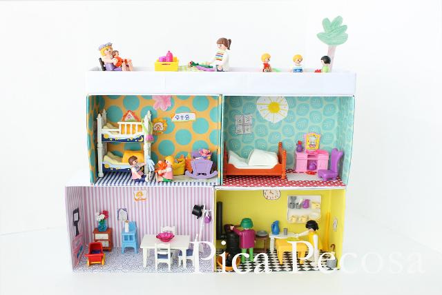 Construye una casa para los playmobil con cajas de zapatos for La casa de playmobil