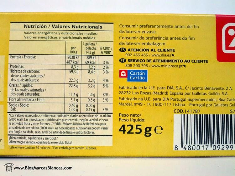 Información nutricional de las galletas digestive avena Dia