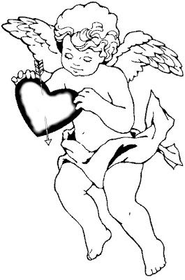 Cupid Printable Coloring Sheet
