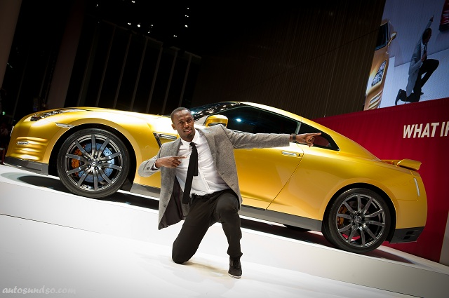 Goldener Nissan GT-R Bolt Gold und Usain Bolt