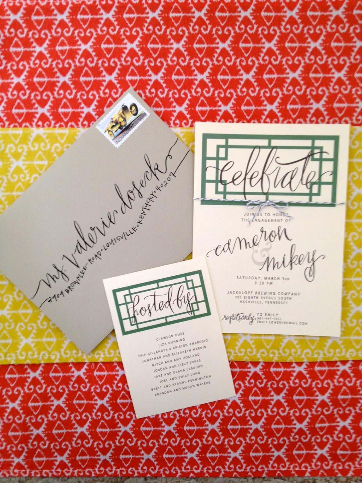 hardink calligraphy engagement party invitation. Black Bedroom Furniture Sets. Home Design Ideas