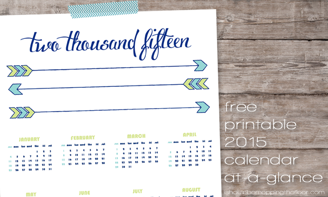 Free Printable 2015 Calendar | This At-A-Glance Calendar is perfect to hang up anywhere you need a quick-reference calendar | Letter-sized | Instant Download