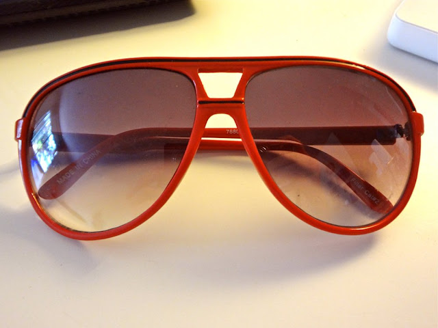 red aviator glasses from forever21