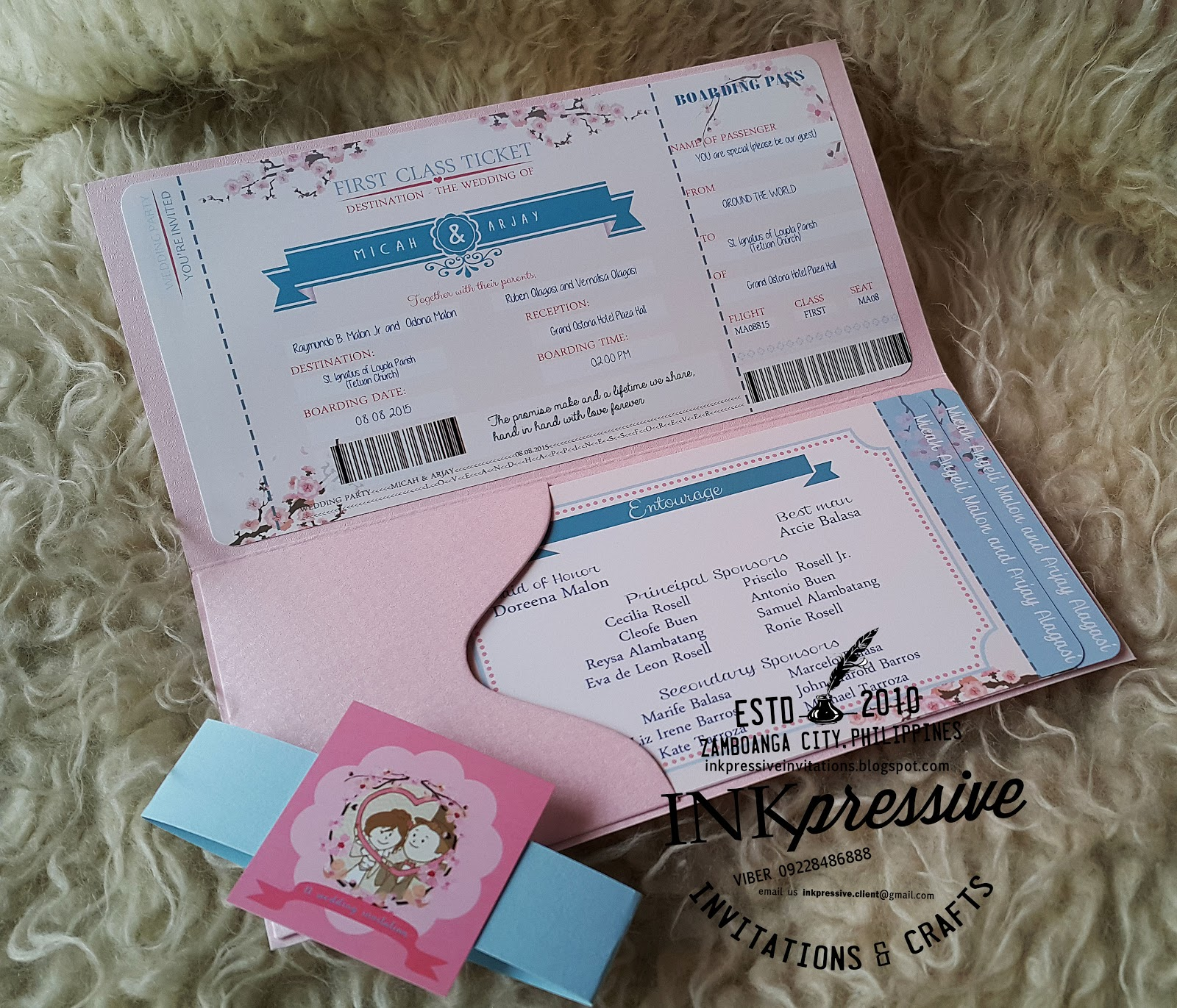 cute boarding pass wedding invitation