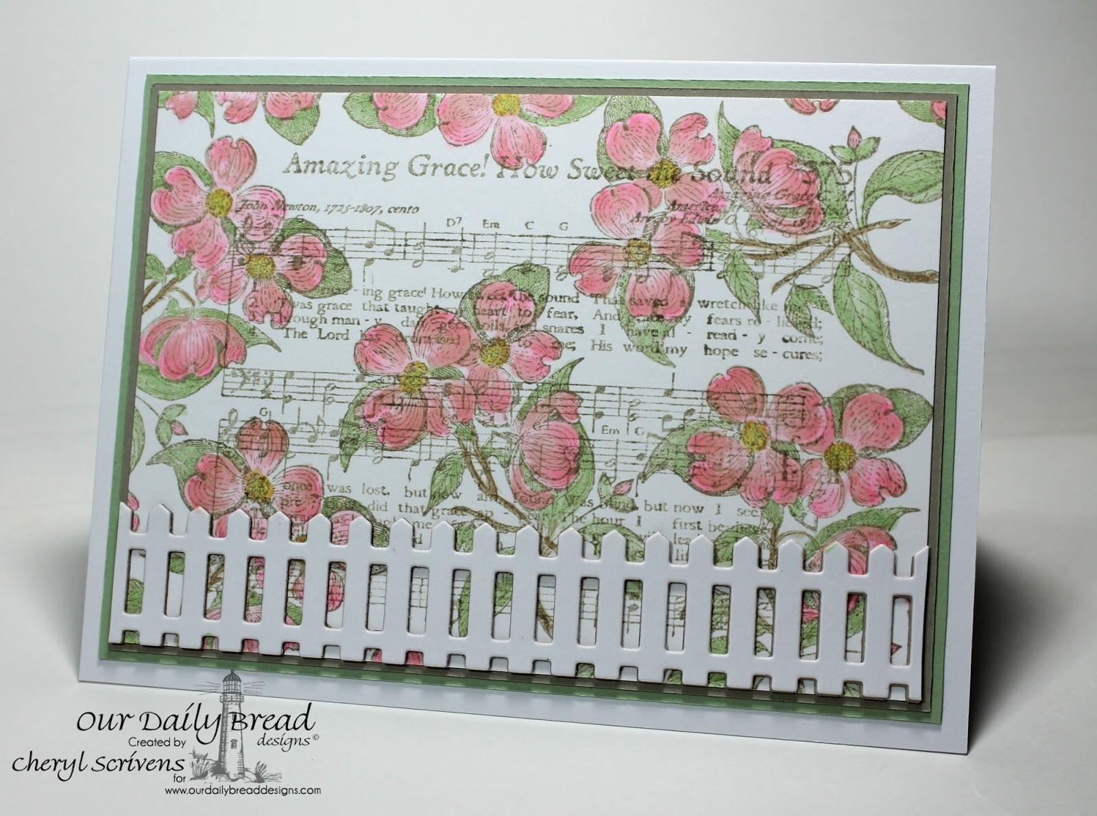 Our Daily Bread Designs, ODBDSLC196, Grow in Grace, Amazing Grace Hymn, ODBD Fence Die, CherylQuilts, Designed by Cheryl Scrivens