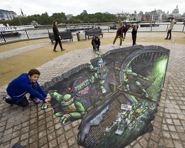 3d street art promotes the teenage mutant ninja turtles