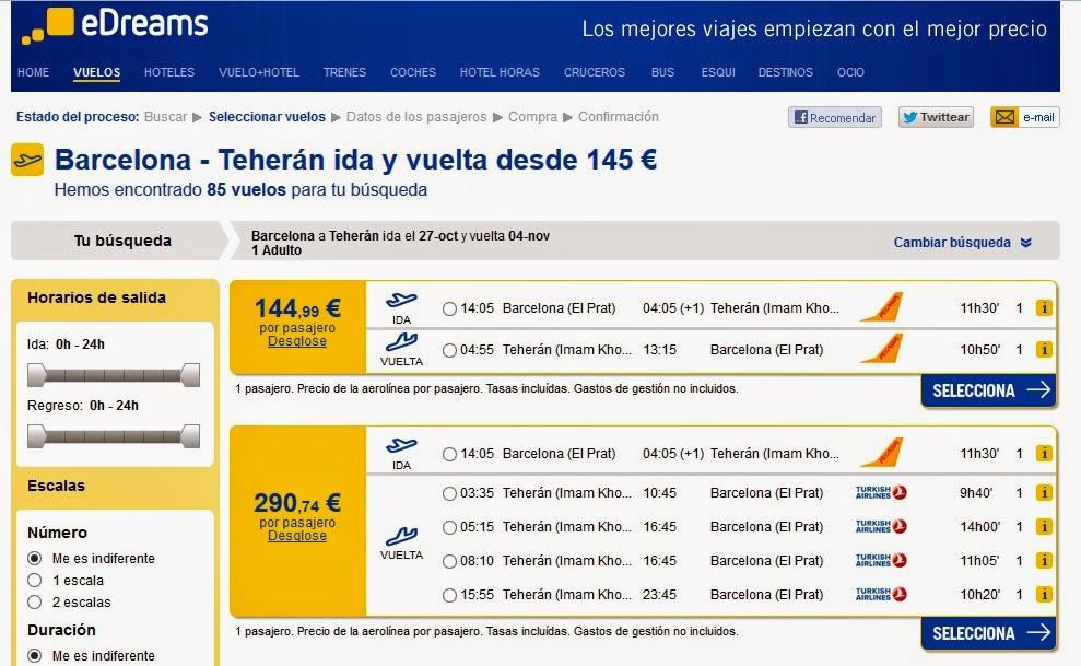 Oferta de vuelos a Teheran desde Barcelona