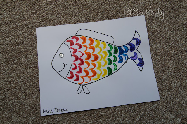 celery rainbow fish preschool craft
