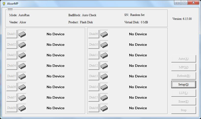 Download AlcorMP UFD 6.15 to repair Alcor AU6981,ِAU6982