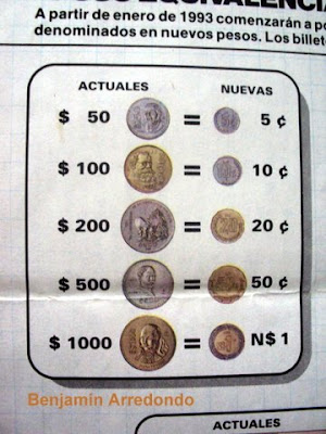 1 peso mexicano equivale: