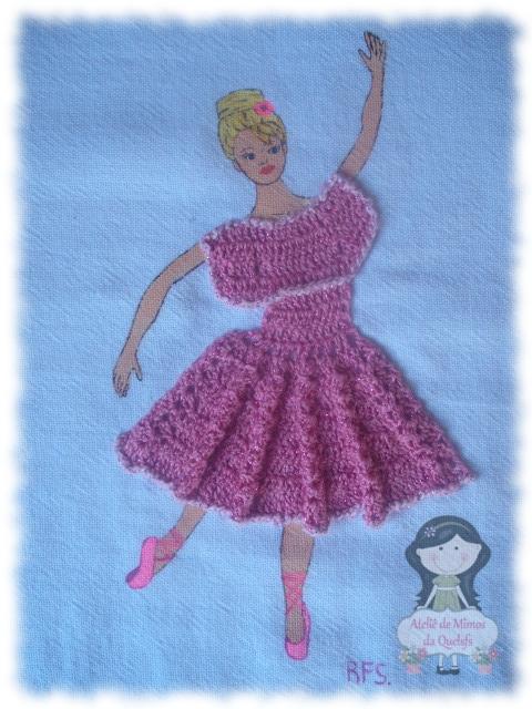 Ateliê de Mimos da Quelsfs: Pano de prato Bailarina com Vestido em