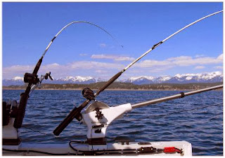 Lake fishing rods and boat