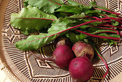 Beets and Greens in Basket