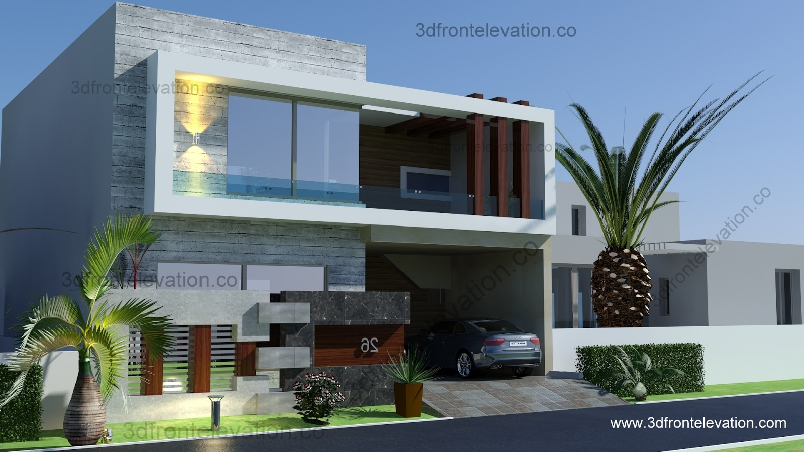 3D Front Elevationcom 5 Marla 10 marla House PLan LayoutMap