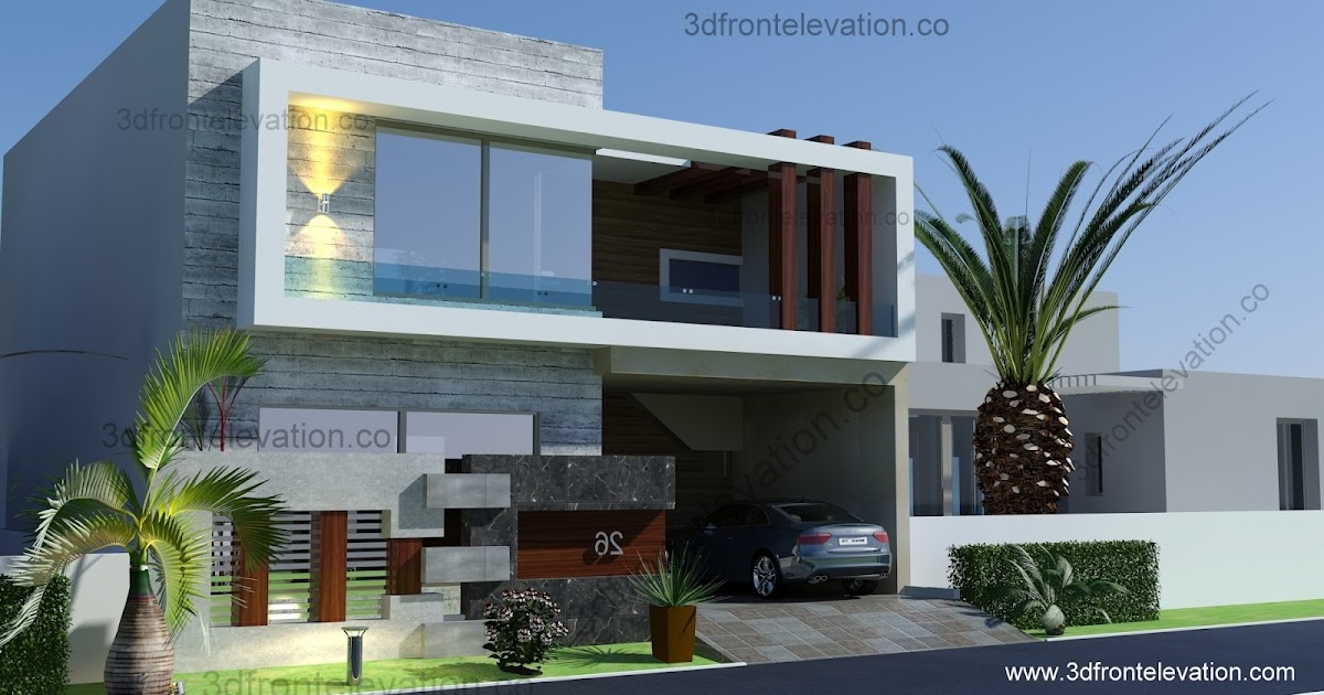D Front Elevation Of House : D front elevation marla house plan
