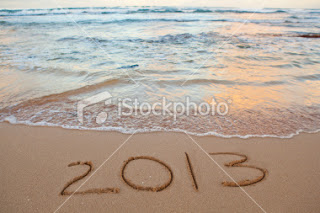 Happy new year 2013 on beach 
