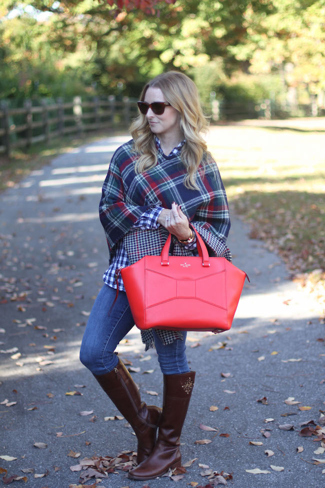 plaid cape, kate spade bag, tory burch boots, ray ban sunglasses