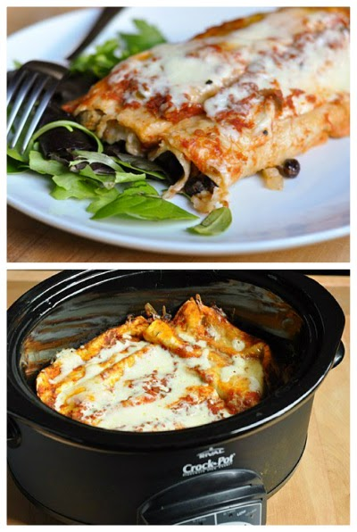 Slow Cooker Black Bean Enchiladas from The Kitchn featured on SlowCookerFromSratch.com