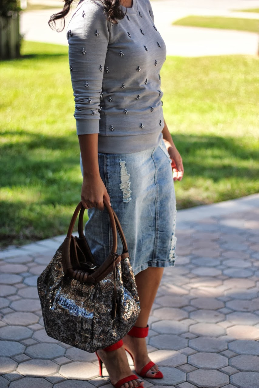 J crew beaded sweatshirt red ankle strap heels jimmy choo sequin bag purse chanel sunglasses