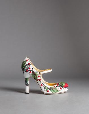 mary jane block heels with fruit embellishment