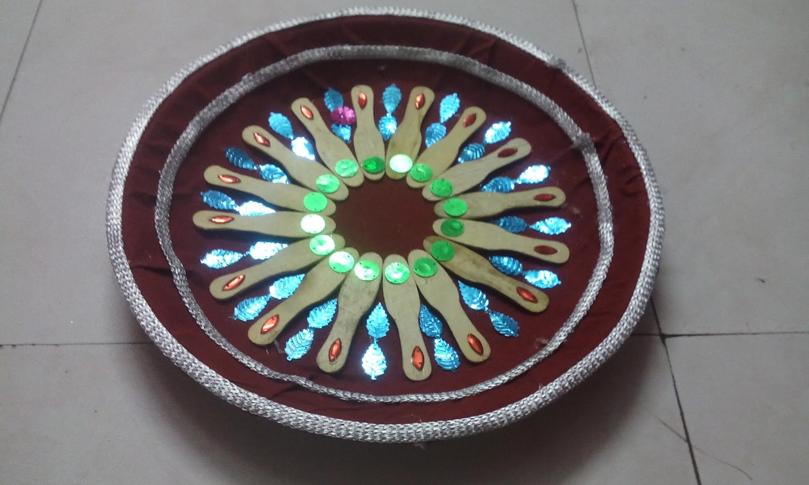 Wedding aarthi plates flower fruits beads spices peacock etc for Aarthi plates decoration