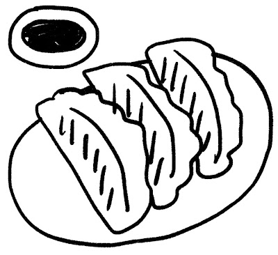 餃子のイラスト モノクロ線画