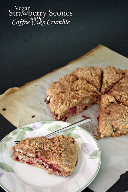 vegan strawberry scones with coffee cake crumble