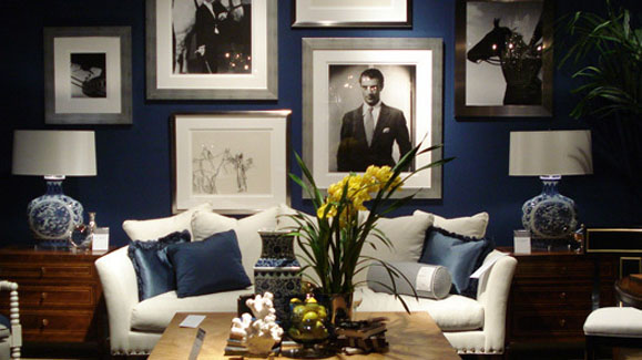 A library of design feeling blue why navy interiors for Living room navy walls