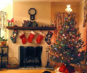 decoración chimenea de navidad