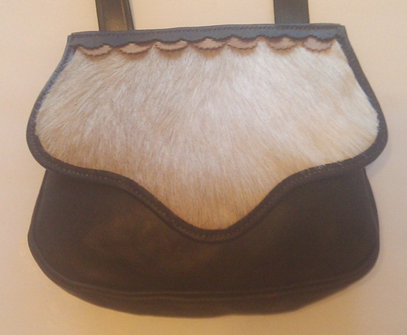 """Ridgemont"" pouch with goat hair flap, gusset, roll welted"